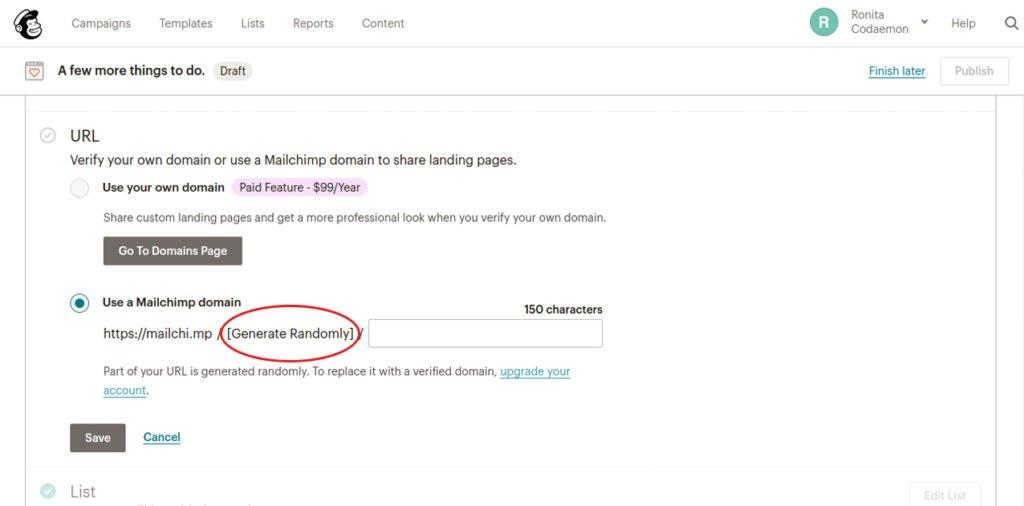 Mailchimp landing page URL