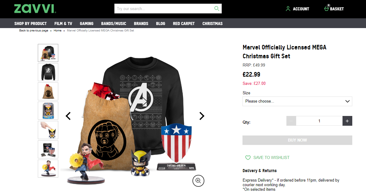 An example of a past Christmas Bundle by Zavvi