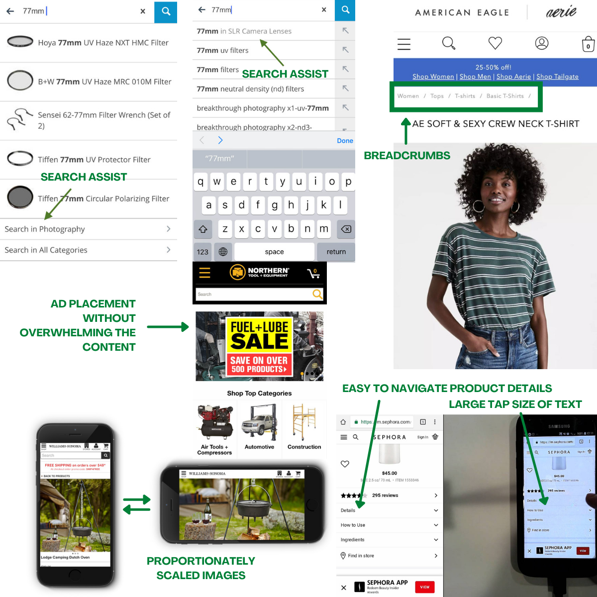 Some elements of mobile-optimized sites